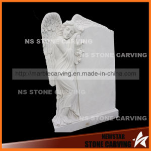 White Marble Carving Angel Girl in Gravestone Monument pictures & photos
