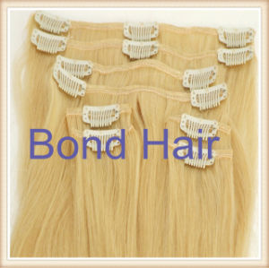 Blond Color Malaysian Remy Clip in Hair Weave pictures & photos
