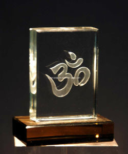 Om in Crystal Block for Hindu Desktop Decoarative pictures & photos