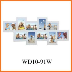 White 10-Opening Wooden Wall Hang Collage Picture Frame (WD10-91W)