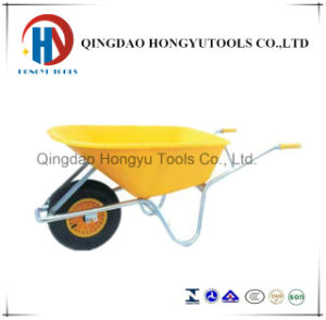 Beautiful Yellow Color Plastic Tray Wheel Barrow (WB6414C) pictures & photos