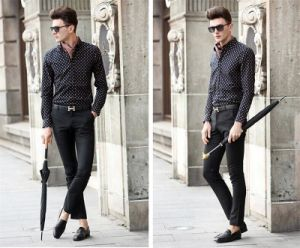 Men′s Fashion Small Circle Printing Long Sleeve Business Shirt pictures & photos