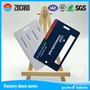 Printing Plastic Luggage Card with White Signature and Metal Eyes pictures & photos