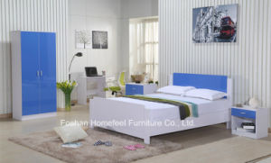 Ikea Style High Gloss Blue Kids Wardrobe Dresser Bedroom Set