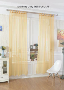 Modern Plain Solid Sheer Voile Window Curtain with Loops, Ready Made Tab Top Sheer Voile Panel Curtains pictures & photos