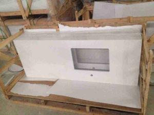Carrara White Small Line Marble Color Quartz Stone for Kitchen Countertop pictures & photos