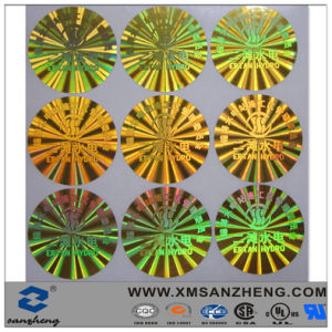 Beautiful Design Holographic Full Color Glossy Circle Laser Engraved Labels pictures & photos