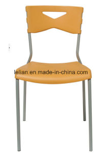 Public Plastic Stacking Dining Chair with Metal Leg (LL-0011C) pictures & photos