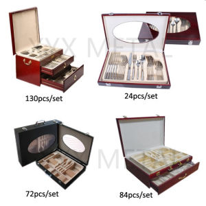 72, 84, 130 PCS Traveling Portable Wooden Box Stainless Steel Cutlery Set pictures & photos