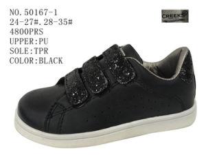No. 50167 Kid′s Shoes Lady Shoe Black Color Velcro pictures & photos