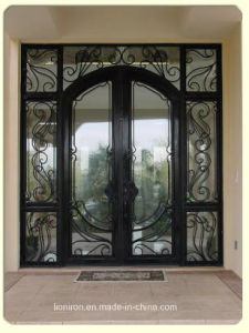 Custom Wrought Iron Front Doors with Transom and Sidelights pictures & photos