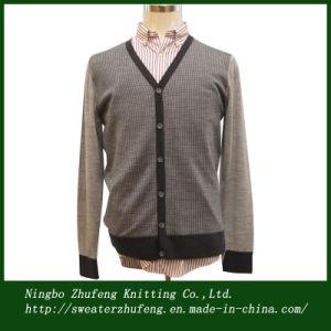 Men′s Jacquard Cardigan Sweater Nbzf0039