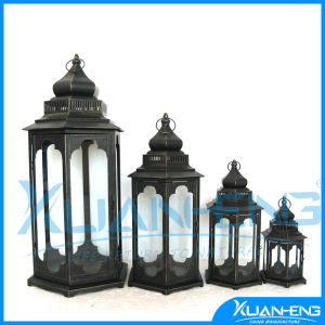 Antique Glass Window Square White Hurricane Lantern pictures & photos