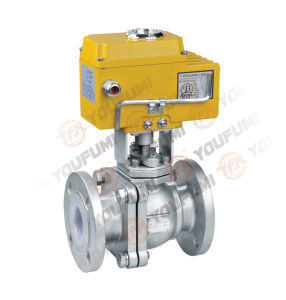 PFA Lined Ss Ball Valve Electric Actuator ANSI pictures & photos