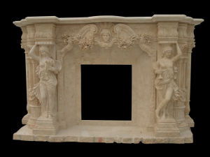 Lady Carving Marble Fireplace (FRP336) pictures & photos