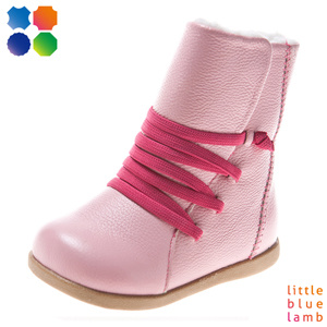 Girl′s Fashion Pink Leather Boots