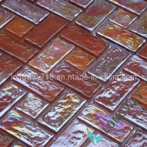 "13"" Amber Metallic Glass Tile"