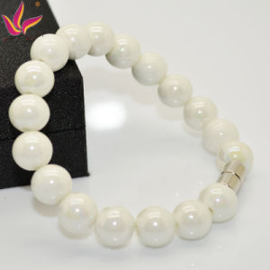 Tmb019 10mm Fashion Healthy Care Bead Bracelet in Tourmaline Negative Ion Material White Color