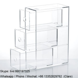 3 Tiers Clear Perspex Acrylic Makeup Storage Box with Drawers pictures & photos