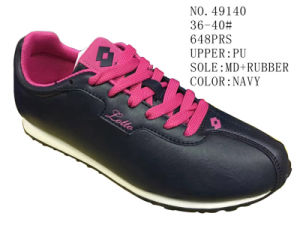Navy Color PU Women Running Shoes pictures & photos