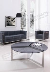 Round Grey Tempered Glass Table, Mat Stainless Steel Center Table Ca827 pictures & photos