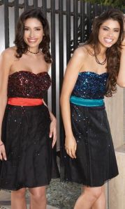 Red or Blue Sequin Black Short Evening Wear (ED3021) pictures & photos