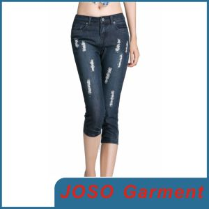 Fashion Women Skinny Distressed Cropped Jeans (JC1049) pictures & photos