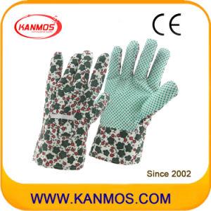 Printed-Flower Cotton Fabric PVC Dots Garden Industrial Safety Work Gloves (41003)