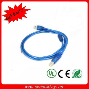 USB 2.0 Am to Bm Printer USB Cable L=1.5m Transparent Blue pictures & photos