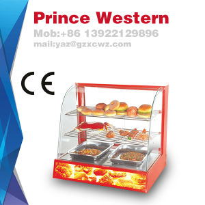 Hot Sale Curved Glass Food Warming Showcase Display Cabinet with Low Cost pictures & photos