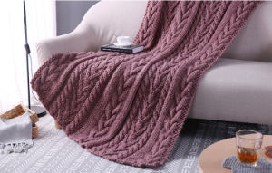 New Design Comfortable Cable Chunky Hand Knitted Wool Throw Blankets pictures & photos