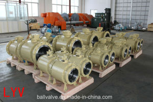 API Pieces Ss CS Flanged Large Size Flanged Trunnion Ball Valve pictures & photos