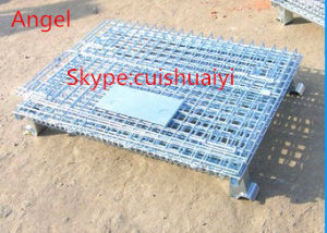 Stackable and Foldable Heavy Duty Galanvized Storage Cage Wire Mesh Container pictures & photos