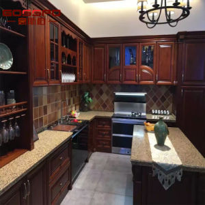 Guangzhou Manufacture Lacquer Mahogany Kitchen Cabinet with Island (GSP10-006) pictures & photos