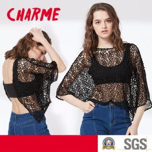Ladies Fashion Sexy Mesh Hollow Back Two Piece Set Blouse pictures & photos