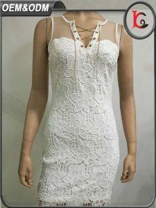 2017 New Design Fashion Dress Elegant White Lace Sleeveless Patchwork Women Party Dress pictures & photos