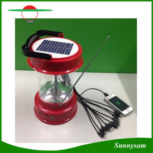 Multifunctional Solar Lamp Outdoor Hiking 6 LED Portable Solar Camping Lantern Light with Mobile Phone Charge and Radio pictures & photos