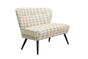 2 Seats Flower Fabric Accent Chair with Wood Frame