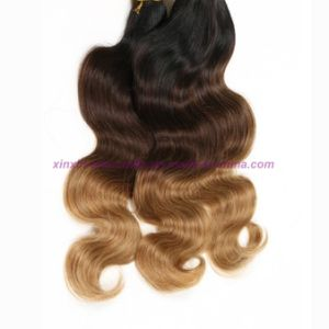 Blonde Weave Bundles Brazilian Ombre Human Hair Three Tones Ombre Hair Body Wave with 2, 3 or 4 Bundles pictures & photos
