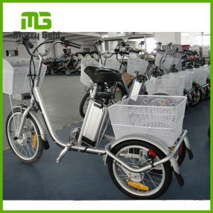 24inch 16inch Wheel 250W Electric Tricycle Cargo Bike with Two Baskets pictures & photos