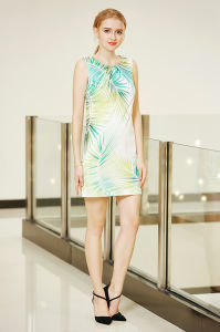 Sleeveless Ponte Shift Dress with Digital Placement Print