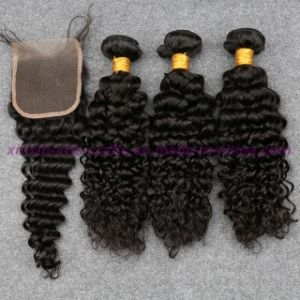 Mongolian Virgin Hair with Closure Beach Waves 4X4 Lace Closure with Bundles Deep Curly Water Wave Human Hair Weaving with Bundles pictures & photos
