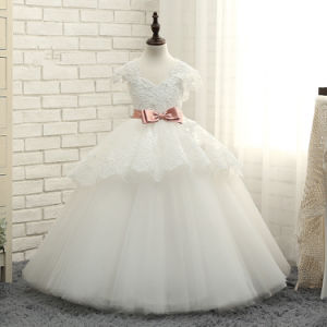 Puffy Girls Wedding Gonws Lace Tulle Flower Girl Dress F1511 pictures & photos