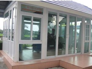 Double Glass with Grid White Colour UPVC Profile Sliding Window PVC White Color pictures & photos