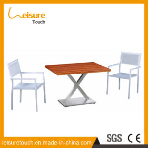Outdoor Leisure Garden Furniture 2 People Who Orthogon Table and Chair for Plastic Wood pictures & photos
