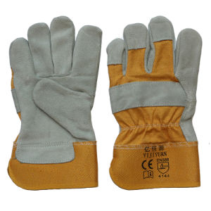 En 388 Anti-Scratch Cow Split Leather Hand Protective Cut Resistant Worker Working Gloves pictures & photos