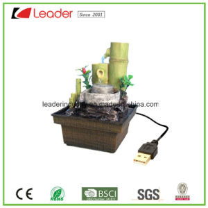 Polyresin USB Bamboo Water Fountain for Table Decoration pictures & photos