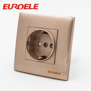 Good Brand Gold Color PC 1 Gang Schuko Socket pictures & photos