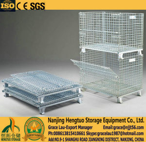 Metal Stackable Steel Wire Mesh Pallet Cage, Folding Wire Mesh Box Baskets, Metal Storage Cage Container for Warehouse Storage pictures & photos