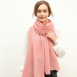 Pure Color Wool Knitting Scarf for Women Pink